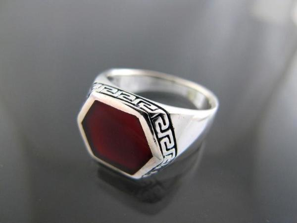 925 Sterling Silver Mens Hexagonal Carnelian Greek Key Ring