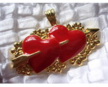 Buy Red Enameled Double Heart Pendant Drop love romance