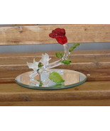 Glass Rose Flower with Love Birds on Mirror Base Romantic Figurine - $4.00