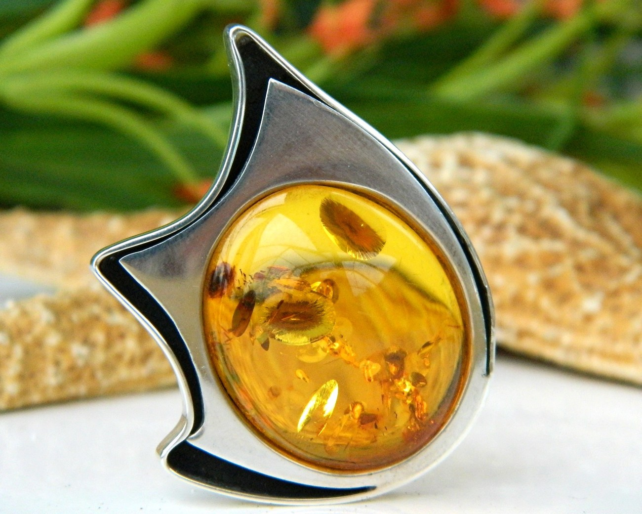 Amber Modernist Brooch Pin Sterling Silver Hallmarked Poland