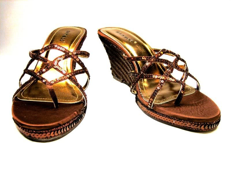 Bamboo espadrille sequined 3.5 inch wedge strappy high heel sandals bronze