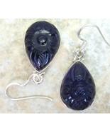Carved Tear Drop Purple Amethyst Sterling Silve... - $152.52