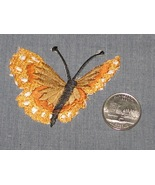 Embroidered iron on YELLOW BUTTERFLY tan patch ... - $4.50