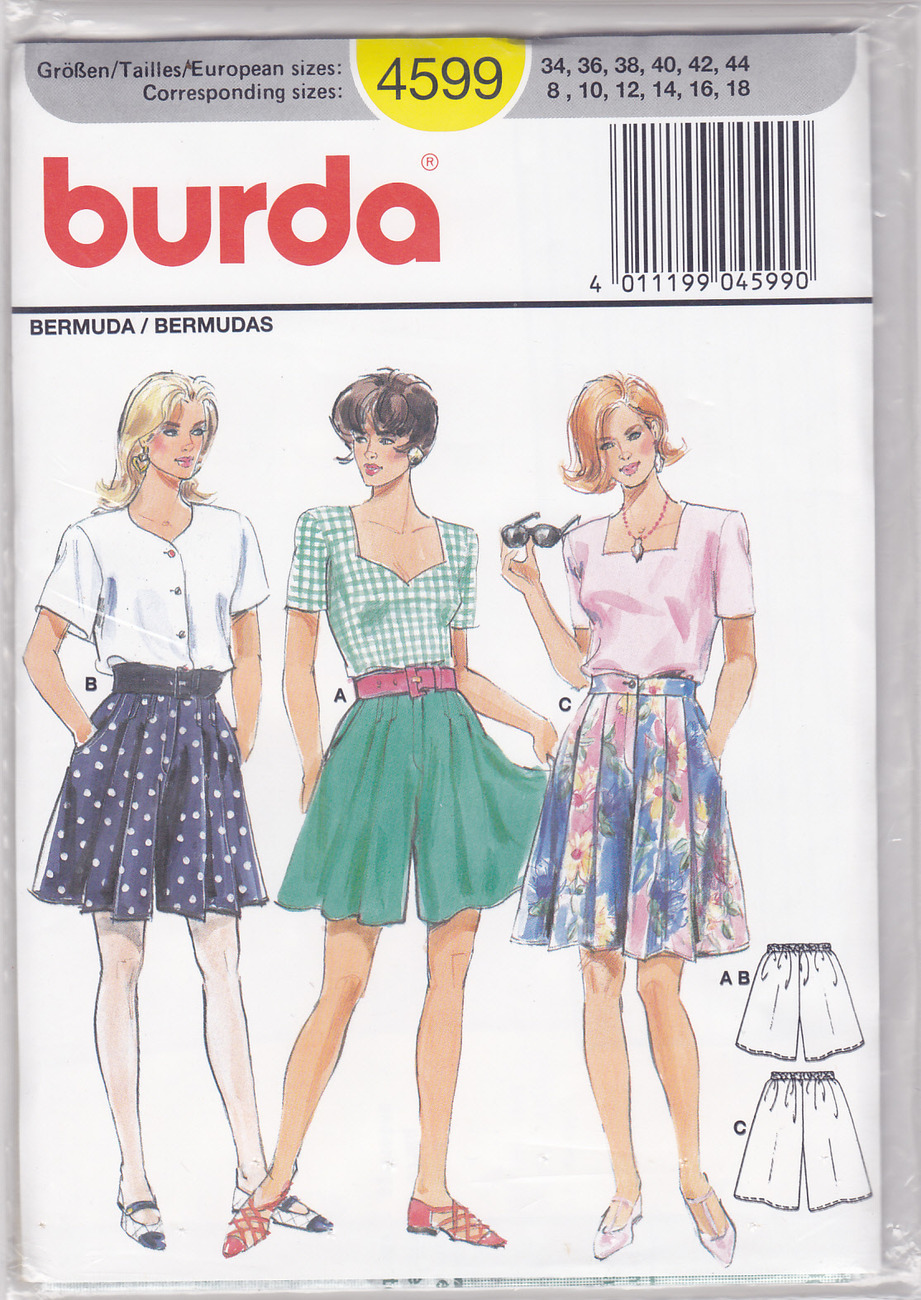 Burda 4599 Skort BURMUDA SHORTS Skirt Sewing Pattern Size 8-10-12-14-16-18-Uncut