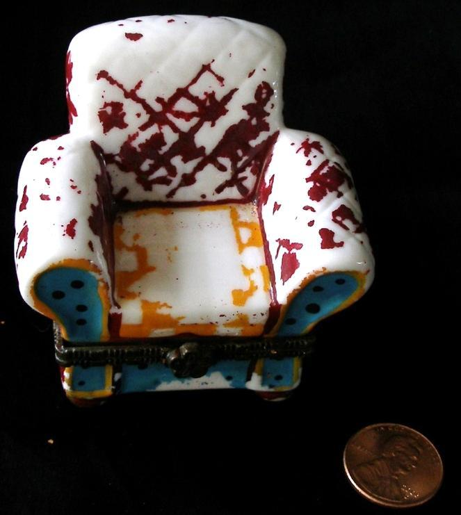 Novelty Pillbox Dollhouse Miniature Distressed Ceramic Chair Under Seat Storage