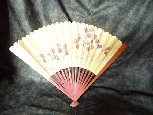 old, painted, paper fan with wood sides
