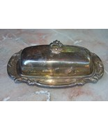 Vintage Gorham Silverplate 3 pc Butter Dish Original Sticker