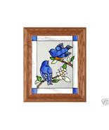 10x12 BABY BLUEBIRDS Stained Art Glass Framed S... - $34.50
