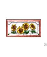 22X11 Stained Art Glass SUNFLOWERS Framed Sunca... - $52.00