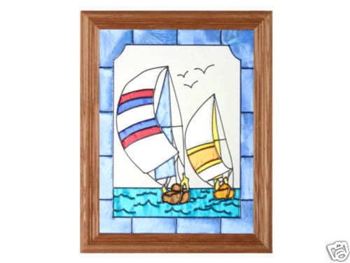 13x16 Stained Glass SAILBOATS Wall Hanging Suncatcher