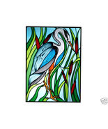 10x14 Stained Art Glass BLUE HERON Bird Suncatc... - $42.00