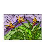 20X14 Stained Art Glass BIRD OF PARADISE Floral... - $62.00