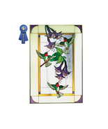 20x30 HUMMINGBIRD Floral Stained Art Glass  Win... - $130.00