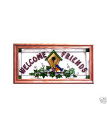 22x11 WELCOME Birds Stained Art Glass Framed Su... - $52.00