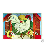 20x14 Stained Art Glass ROOSTER Chicken Suncatc... - $62.00