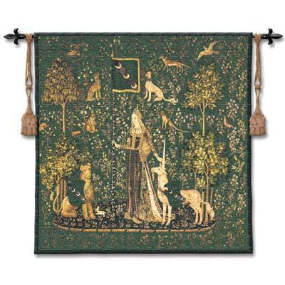 53x56 Lady & UNICORN ~Sense of Touch~ Medieval Green Tapestry Wall Hanging