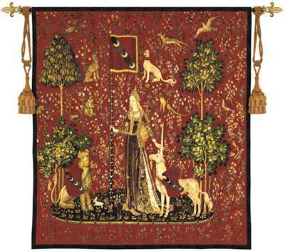 53x56 Lady  UNICORN  Sense of Touch  Medieval Red Tapestry Wall Hanging