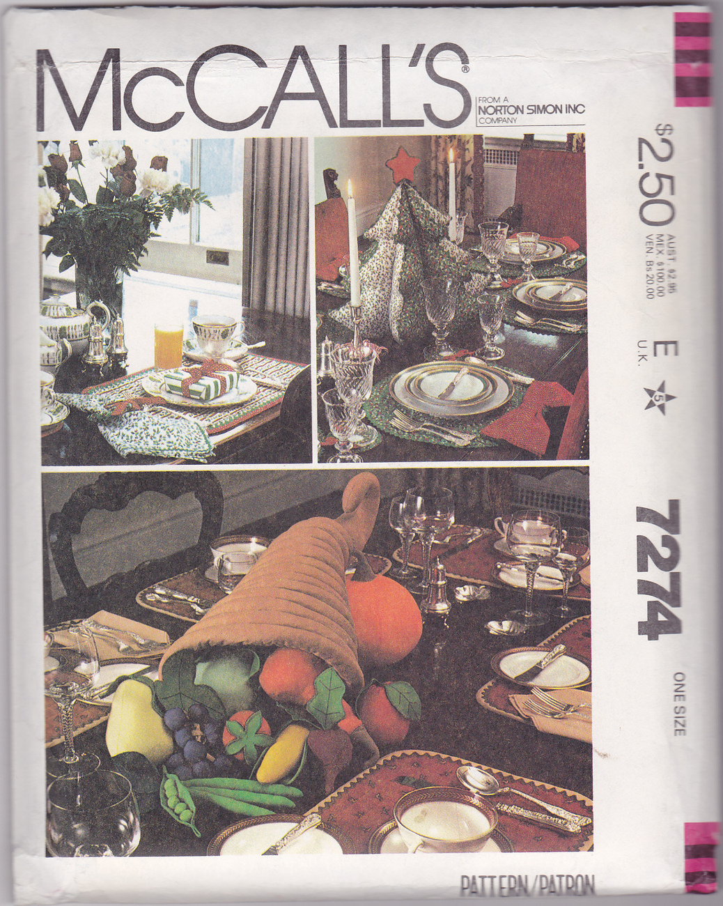 McCalls 7274 Cornucopia HOLIDAY TABLE DECORATIONS Craft Sewing Pattern ...