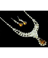 Bridal Jewelry golden brown crystal necklace se... - $16.82