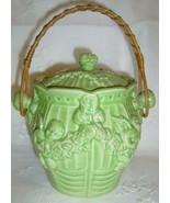 Pottery Cracker Jar w/Wicker Handle OLD JAPAN - $48.50