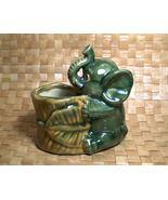 Vintage Ceramic Elephant Planter w Basket Tropi... - $14.90