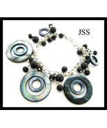 Black Mother of Pearl Circle Bracelet - $12.98