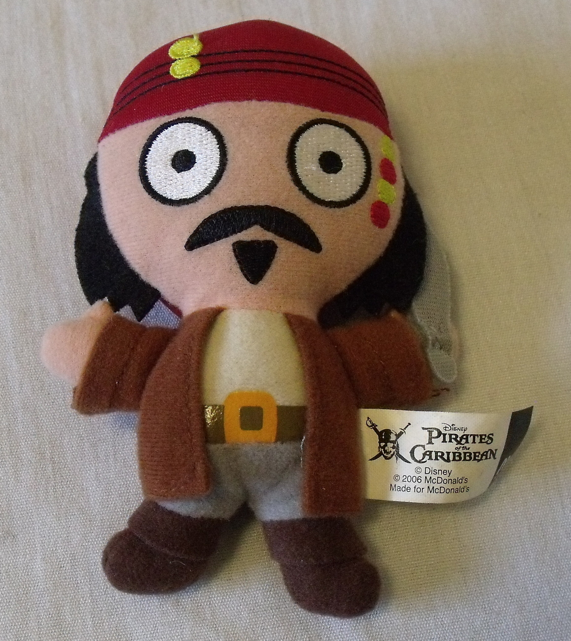 McDonalds Happy Meal Toy Jack Sparrow Pirates of the Caribbean Cloth Figure