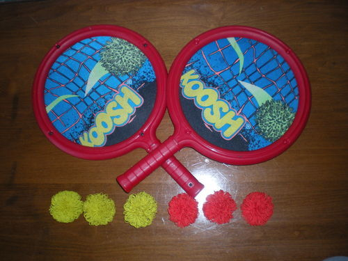 Koosh Racquet Set of Two with Six Birdies Balls Paddles Rackets Raquets