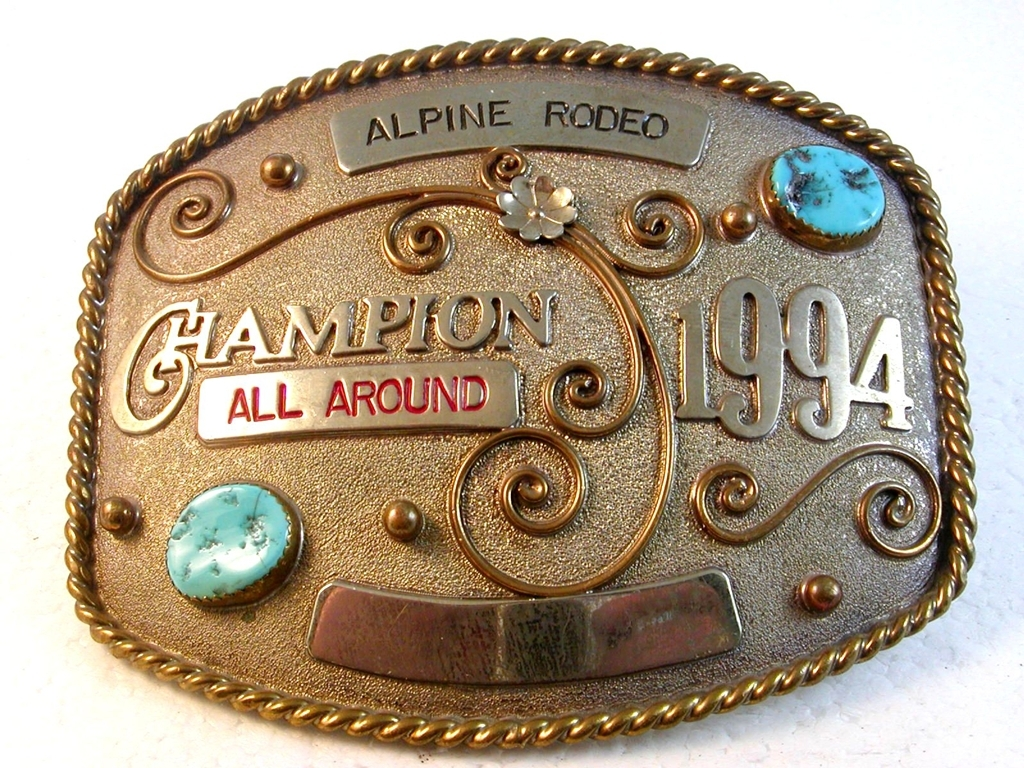 1994 Alpine Rodeo All Around Champion Belt Buckle by YellowHair Buckles