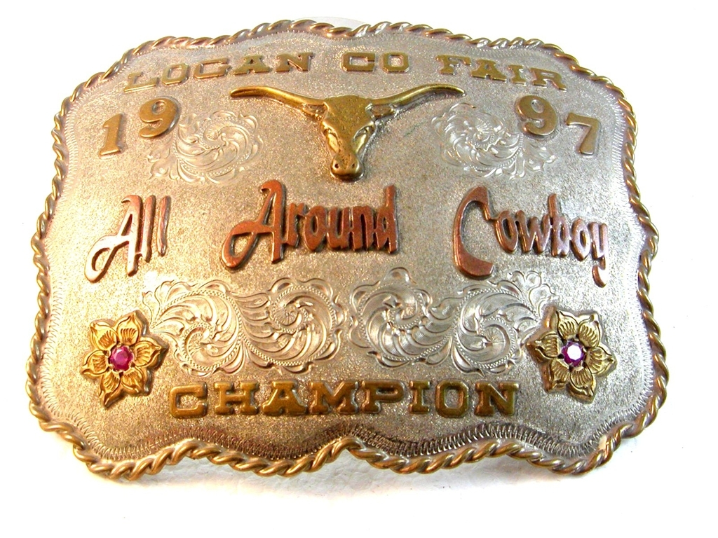 1997 Logan County Fair Rodeo All Around Cowboy Champion Belt Buckle Signed KS