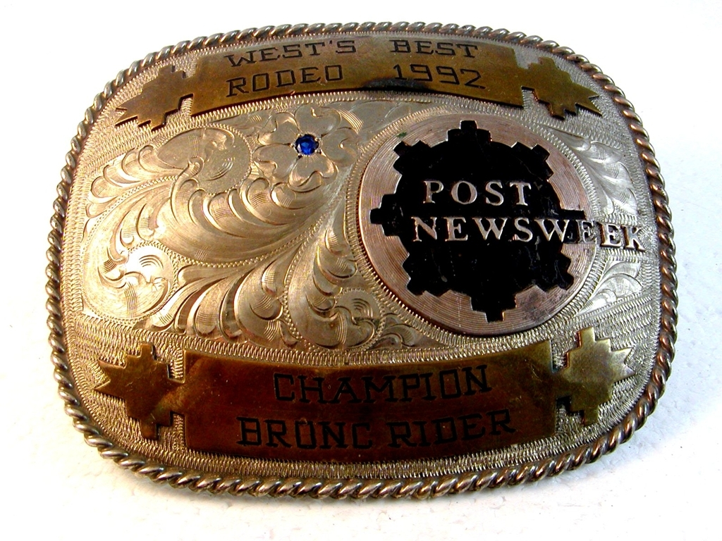 1992 West's Best Rodeo Post Newsweek Champion Bronc Rider Belt Buckle