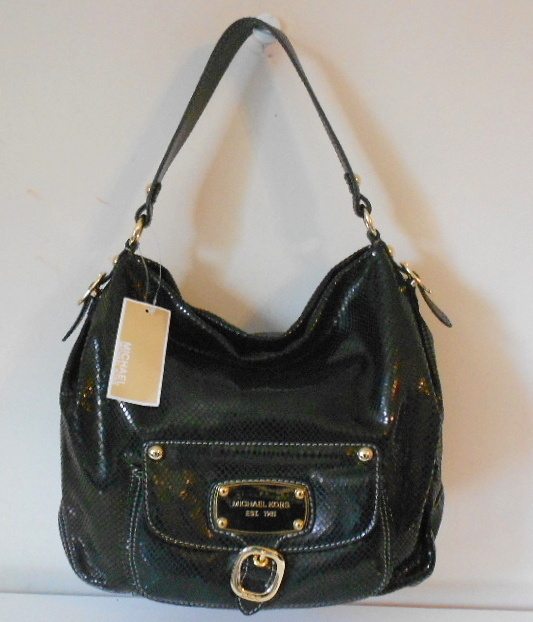 MICHAEL KORS PURSE BLACK SNAKE LEATHER LG SHOULDER HOBO HUDSON DOWNTOWN NWT $448