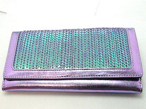 Lavender Metallic Sequin Wallet Clutch Purse Checkbook Holde