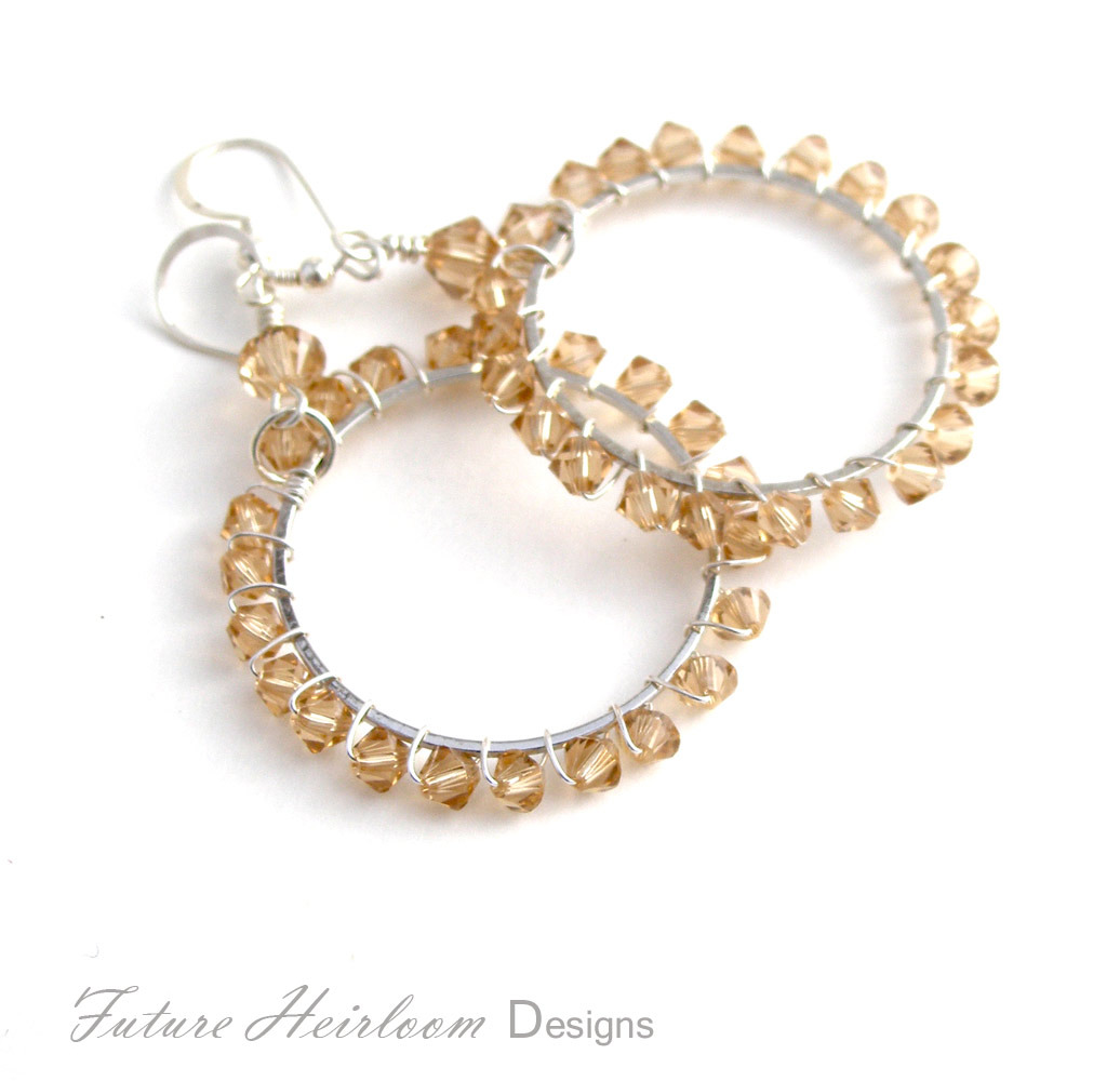 Peach Crystal and Silver Hoop Earrings