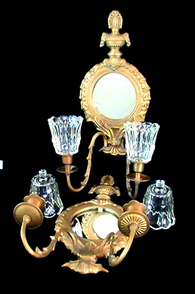 Vintage Brass Mirrored Grecian Double Arm Wall Sconces with Holders