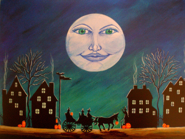 "Halloween Art Print Titled "" Witch Moon"" by Christine Altmann Art"
