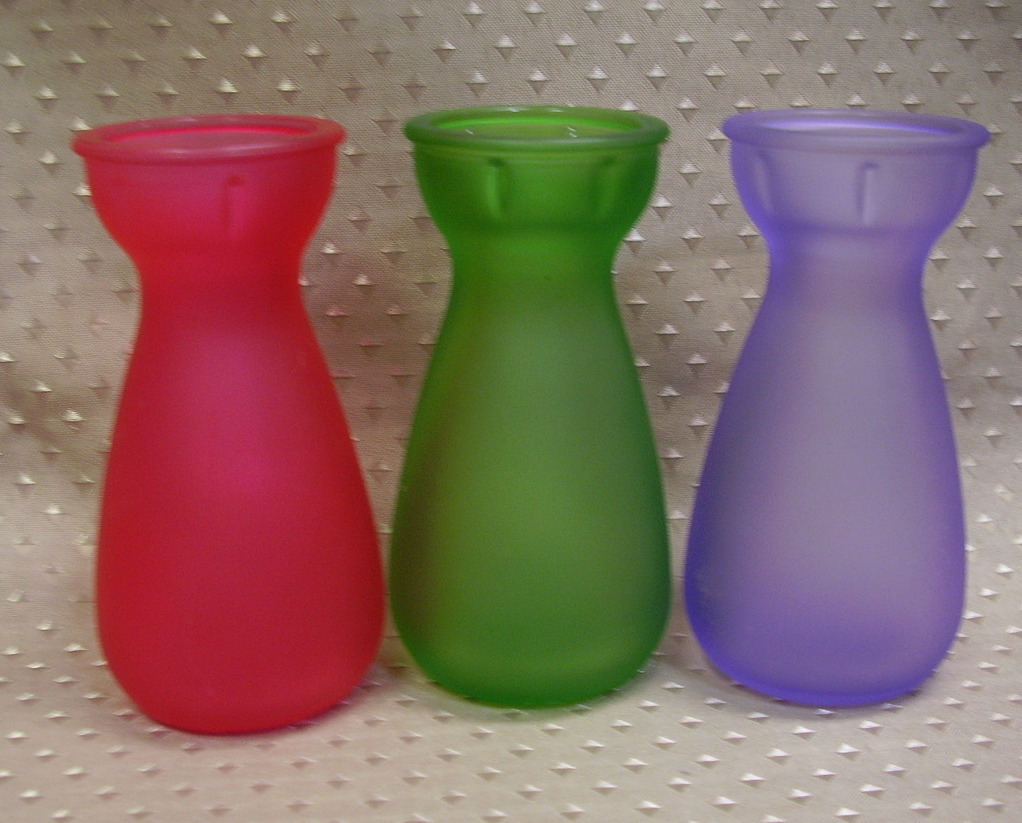 Frosted glass mini vase  - set of 3 - red, green & lilac - Product of EEC