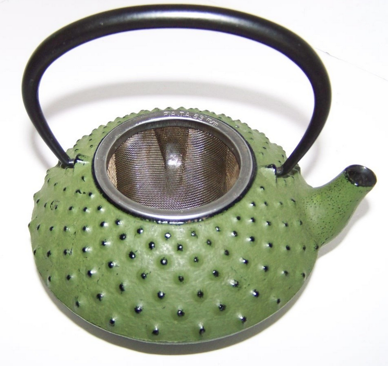 Tetsubin Japanese Small 12 oz Cast Iron Nailhead Green Teapot (no lid) RARE