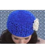 Beautiful Electric Blue Flapper Hat Cloche, Bea... - $25.00