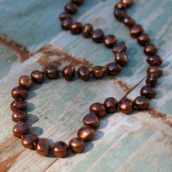 Hand-Knotted Brown Pearl Necklace