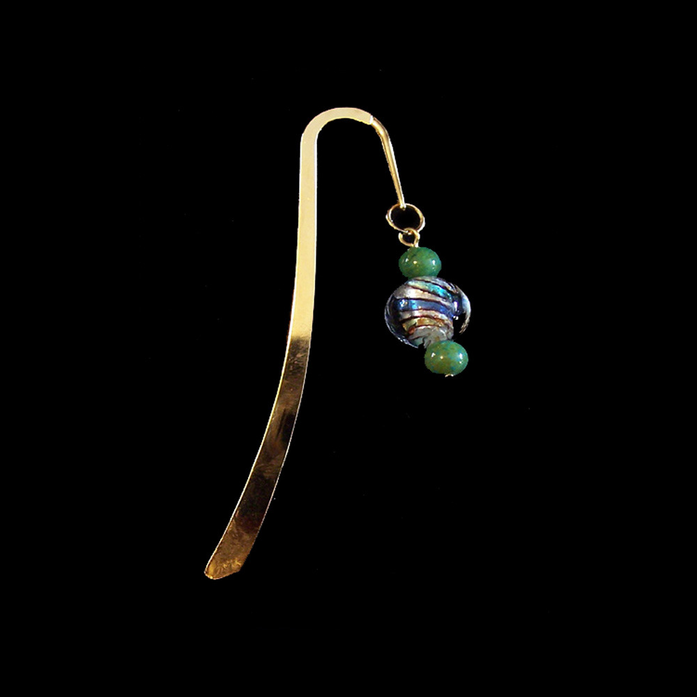 Brass Bookmark - multicolor and green