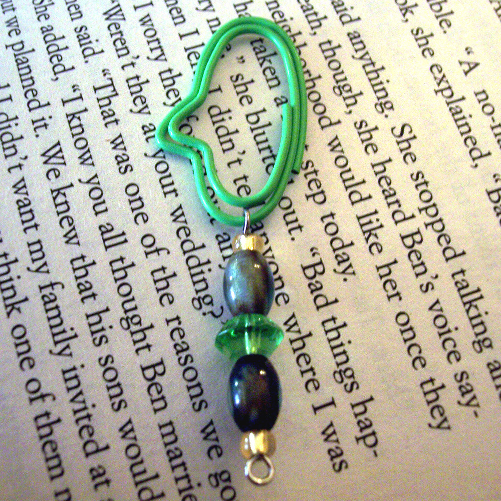 Beaded Page Clip Bookmark - Green Oval #4