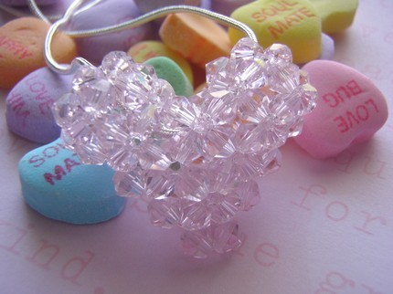 Swarovski Crystal Puffy Heart Necklace in Light Rose