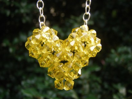 Swarovski Crystal Puffy Heart Necklace in Light Topaz