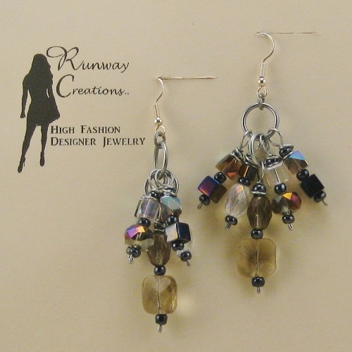 Dazzling Smoky Grey/Luster Mix Glass Bunch Drop Earrings