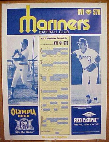 First year 1977 SEATTLE MARINERS large Schedule POSTER