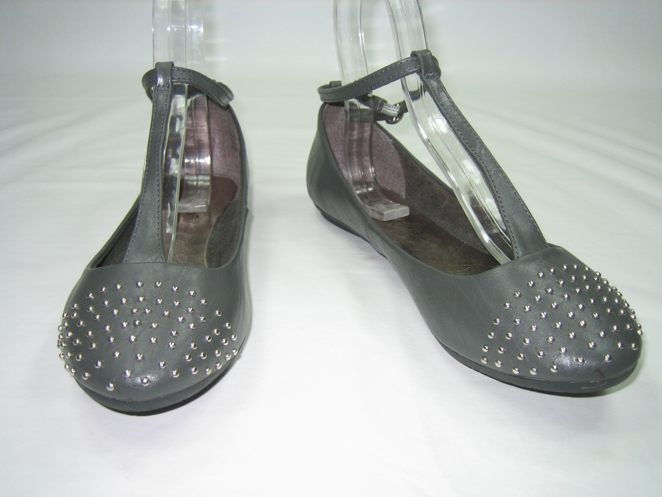 Ballerina comfort flats T-strap pumps decorative studs women's shoes gray