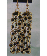 Very Long Vintage Black and Gold Chain Dangle E... - $8.99