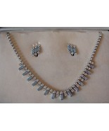 Vintage B David Aqua/clear Rhinestone Necklace ... - $65.00