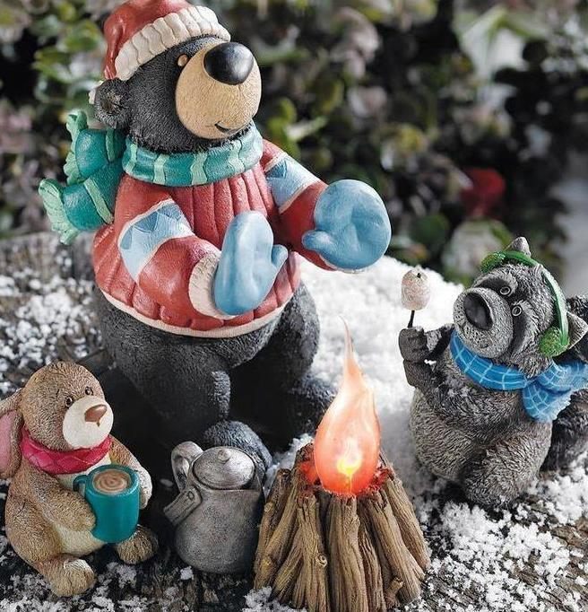 Image 1 of Woodlands Campfire Figurines Christmas Table Top